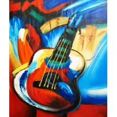 "Картина ""Разноцветная гитара"", холст, масло, 50х60см"