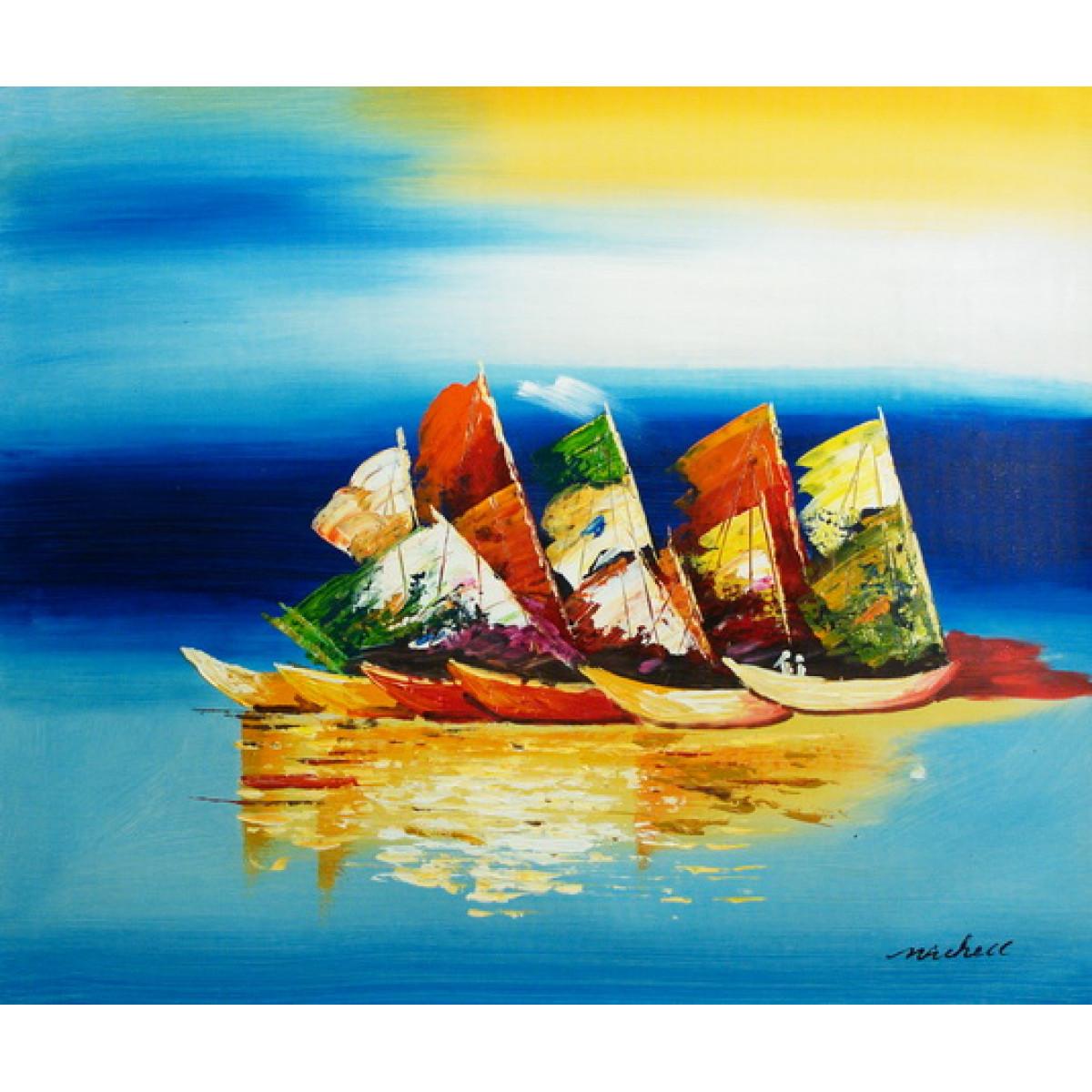 """Картина """"Разноцветные лодки"""", холст, масло, 50x60см"""