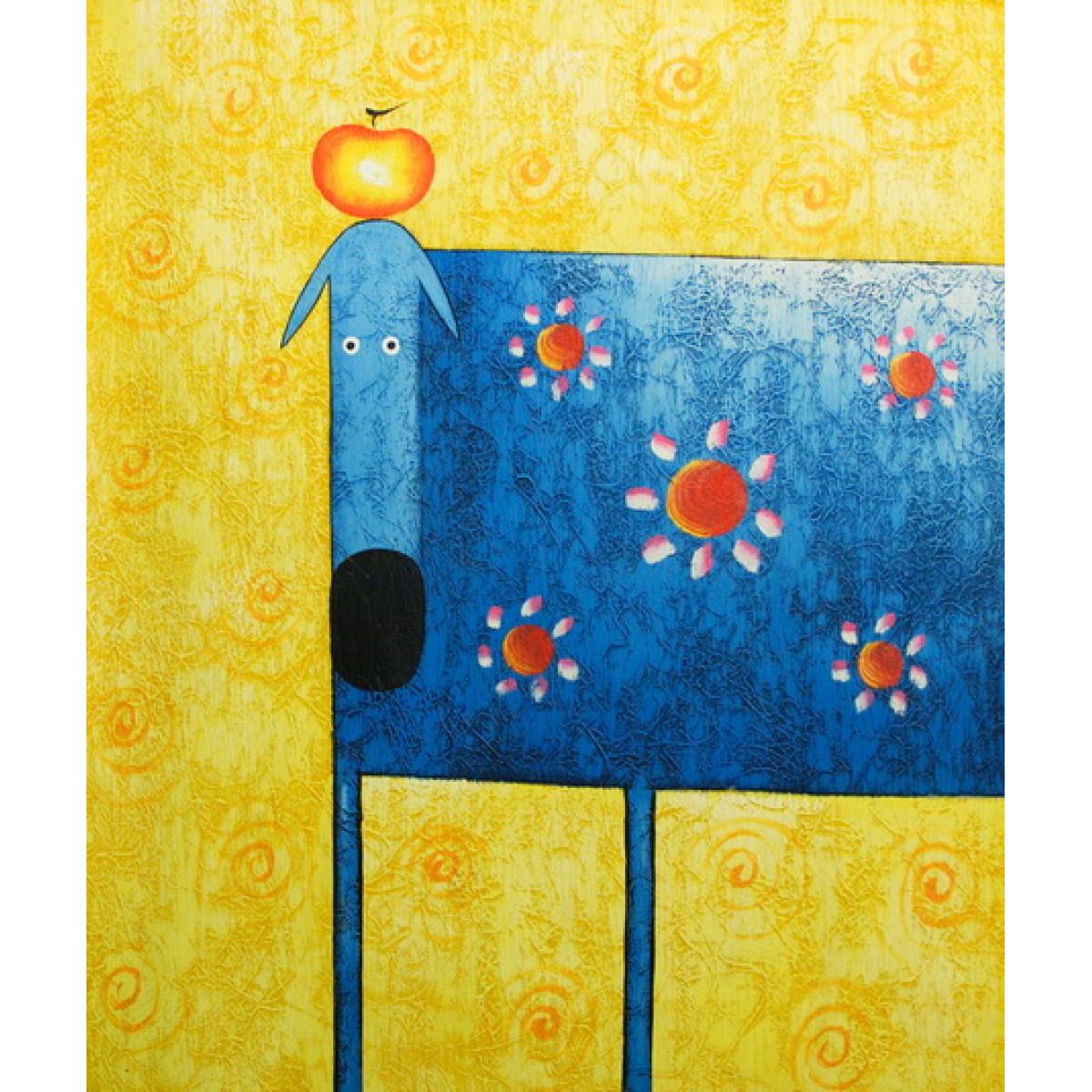 """Картина """"Синяя собака с красным яблоком"""", холст, масло, 50х60см"""