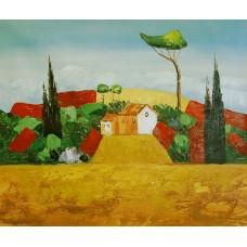 """Картина """"Абстрактный пейзаж 1"""", холст, масло, 50x60см"""