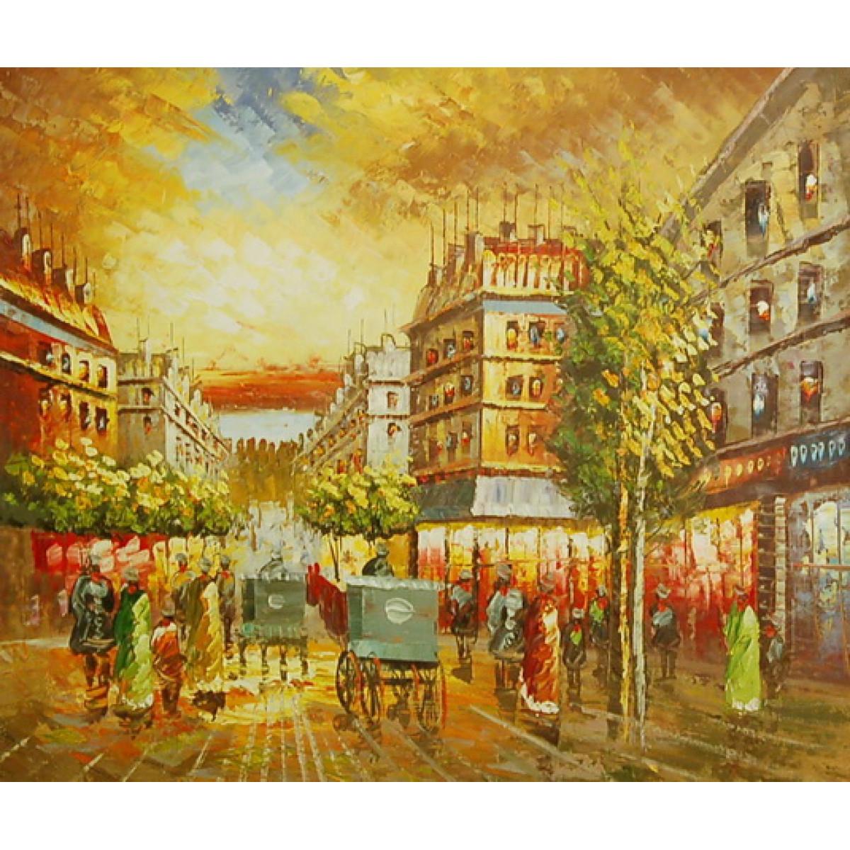"""Картина """"Европейский городок 2"""" , холст, масло, 50x60см"""