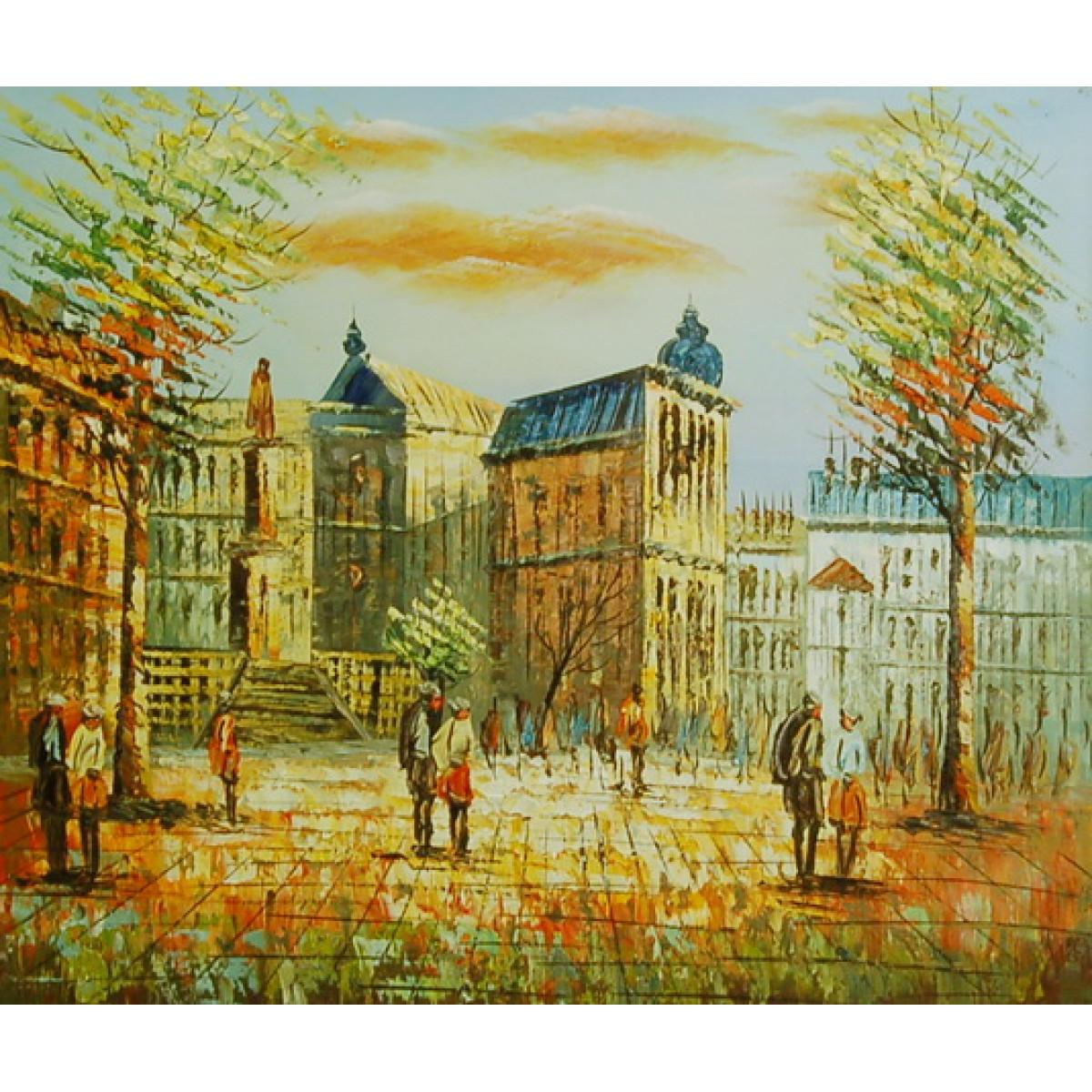 """Картина """"Европейский городок"""" , холст, масло, 50x60см"""