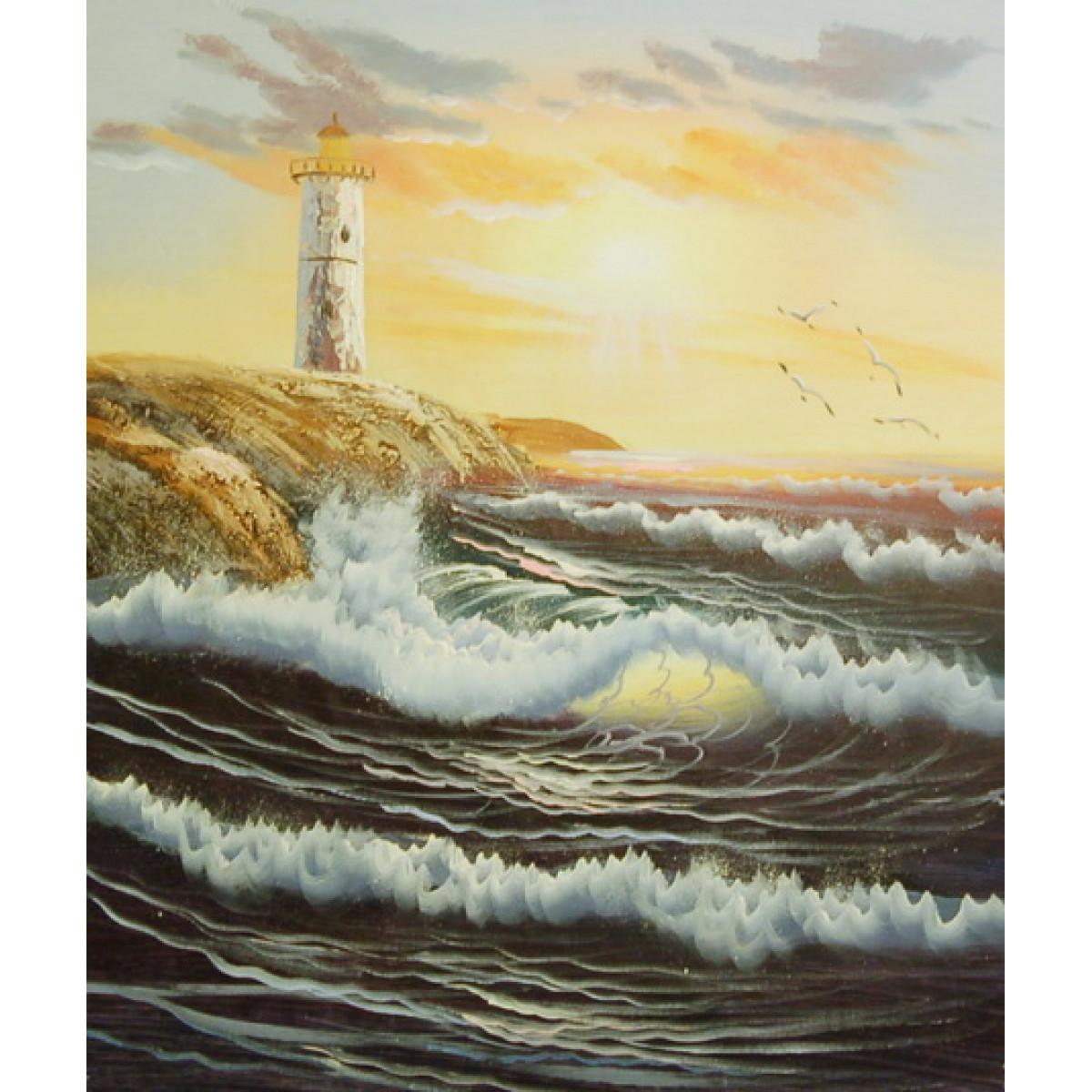 "Картина ""Солнечный маяк"", холст, масло, 50x60см"