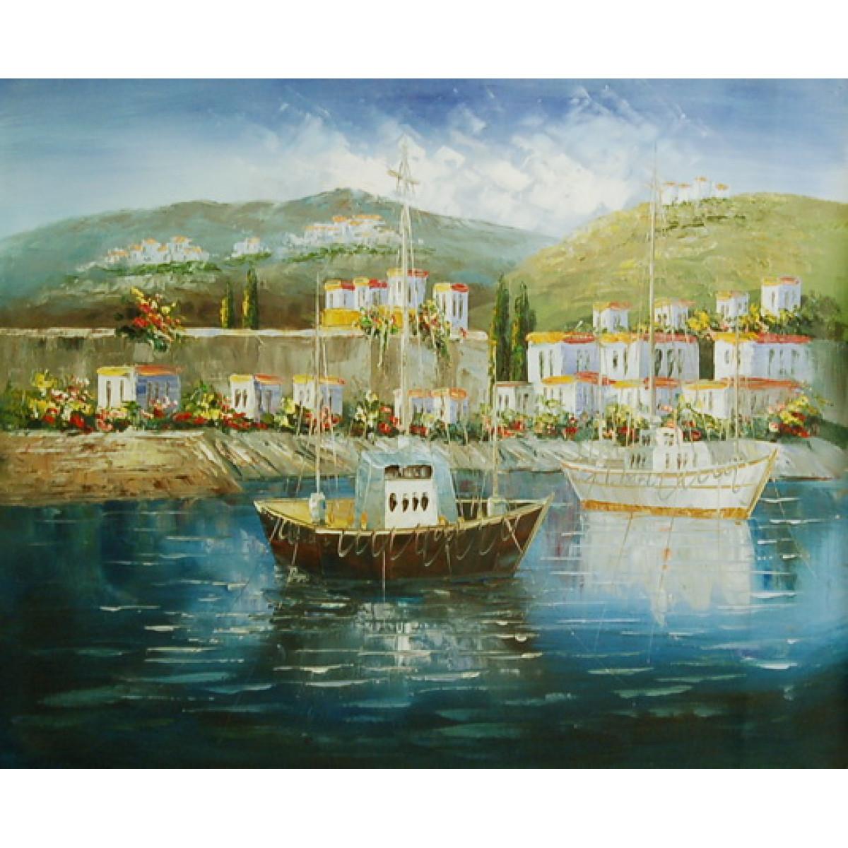 "Картина ""Тихая гавань"", холст, масло, 50x60см"