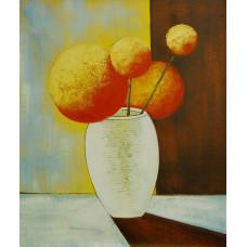 """Картина """"Цветы круглые. Красные"""", холст, масло, 50x60см"""
