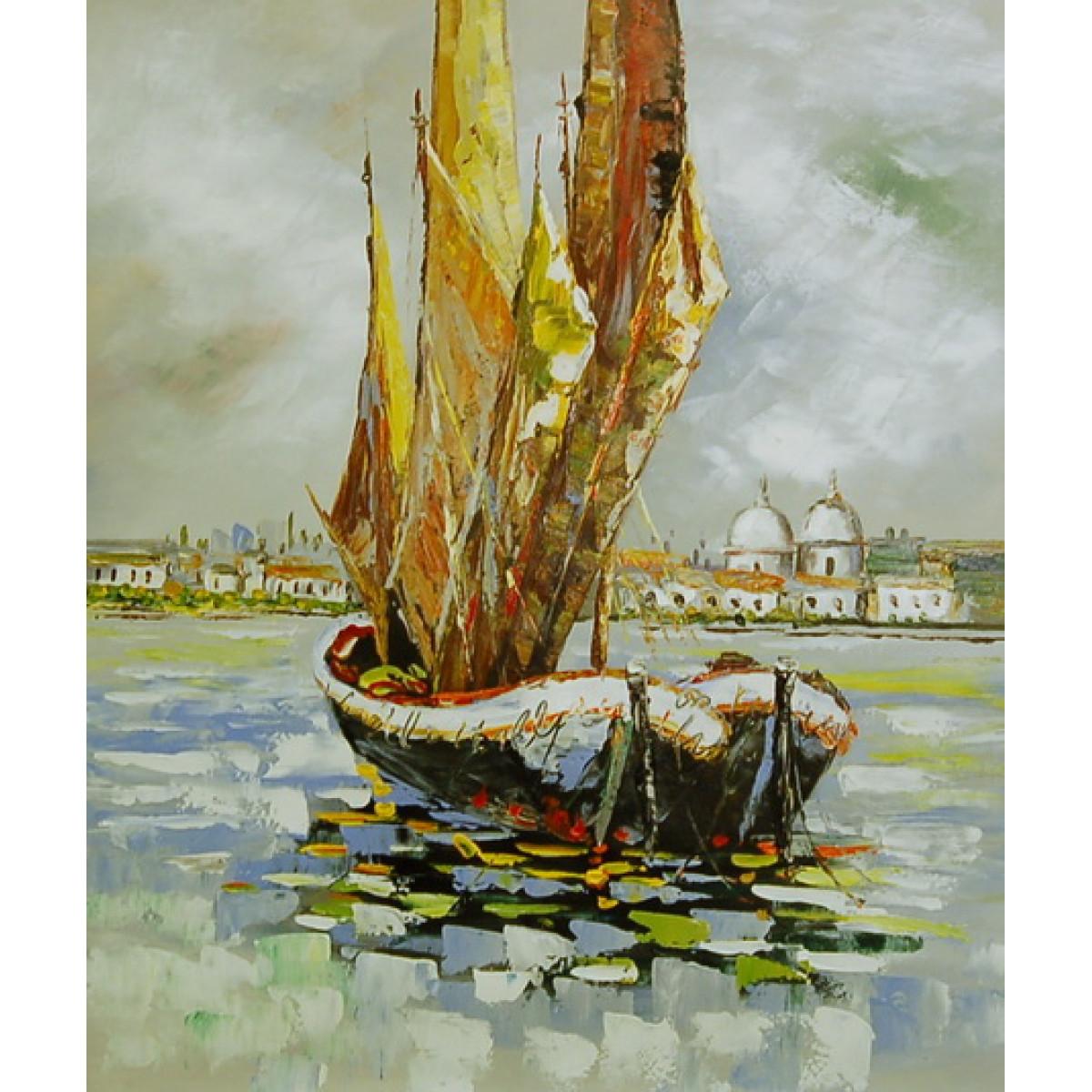 """Картина """"Венецианские лодки"""", холст, масло, 50х60см"""