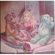"""Картина """"День рождения куклы"""", холст, масло, 40х40см"""
