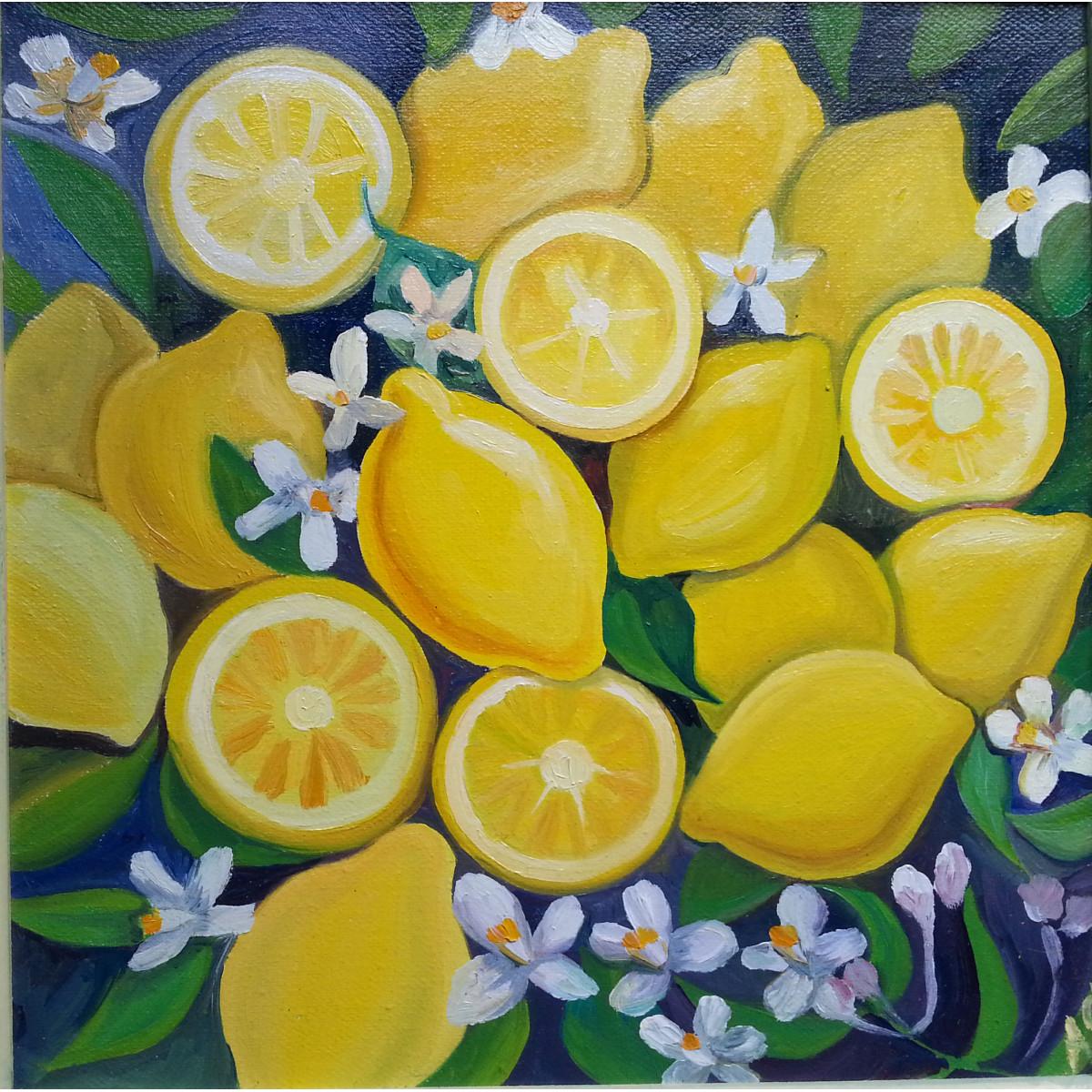 "Картина ""Лимоны"", холст, масло, 35х35см"