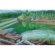 """Картина  """"Озеро"""", холст, масло, 25х15см"""