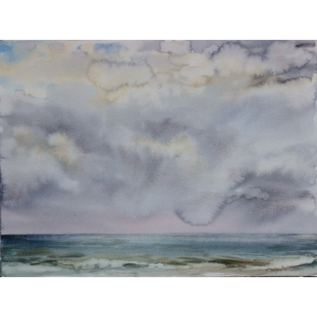 "Картина ""Гроза над морем"", 30х40см, акварель, бумага"