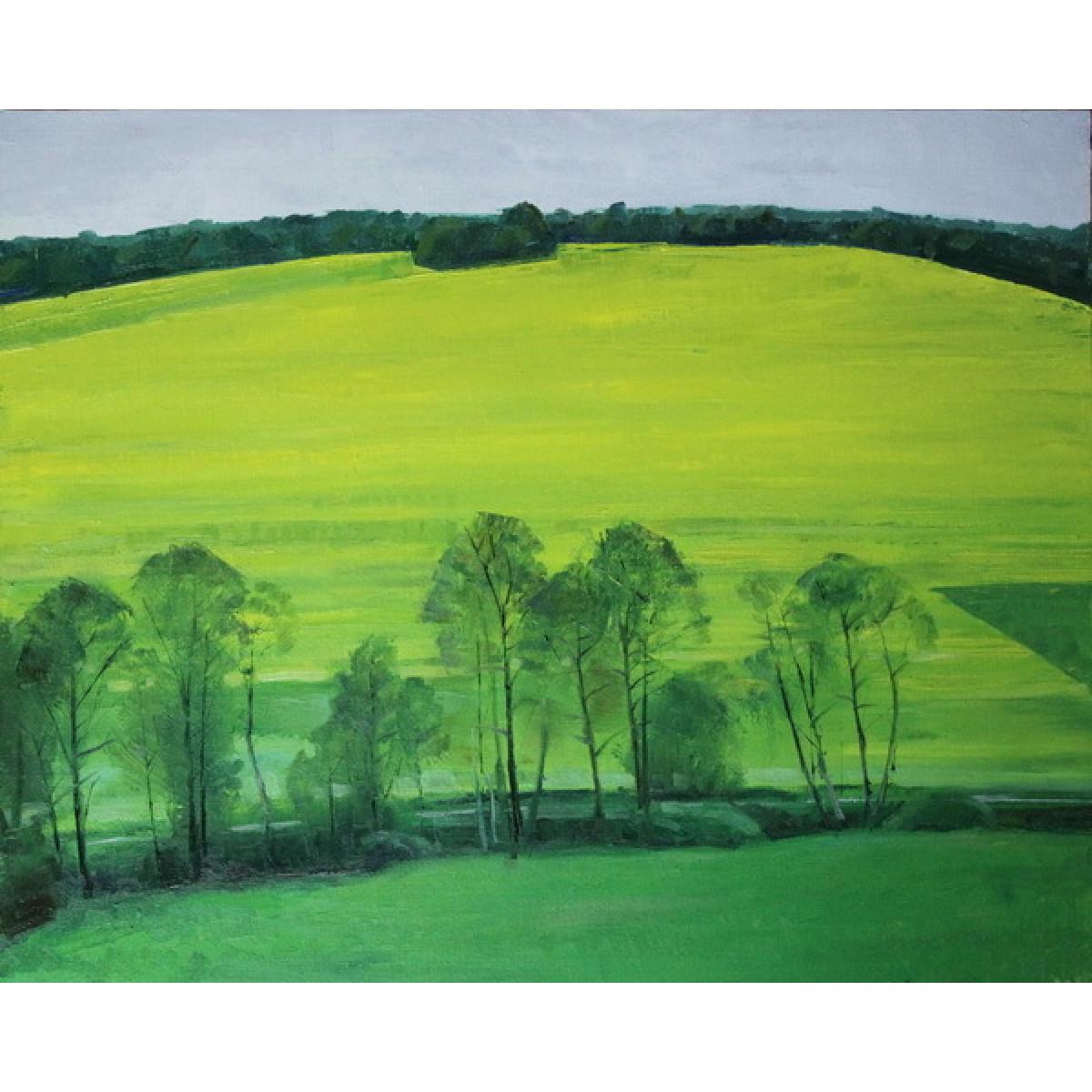 """Картина """"Желтое поле"""", холст на картоне, масло, 40х50см"""