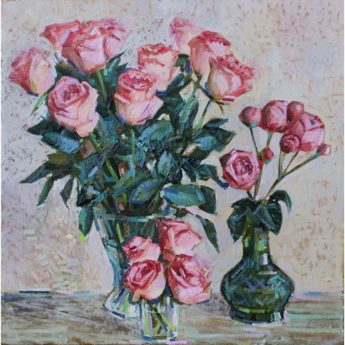"Картина ""Розовый букет"", картон, масло, 50х50см"