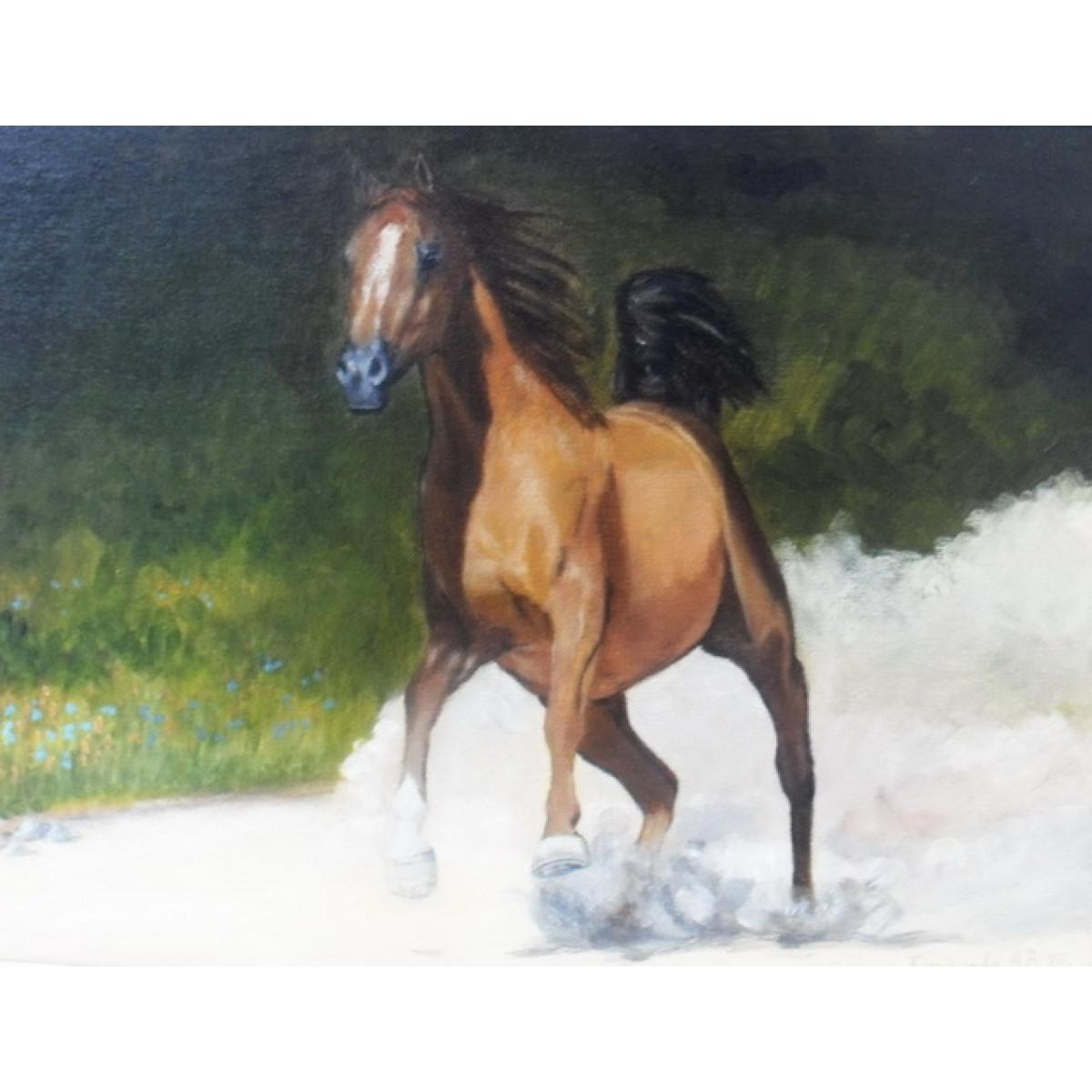 "Картина ""Бегущая лошадь"", оргалит, масло, 30х40см"
