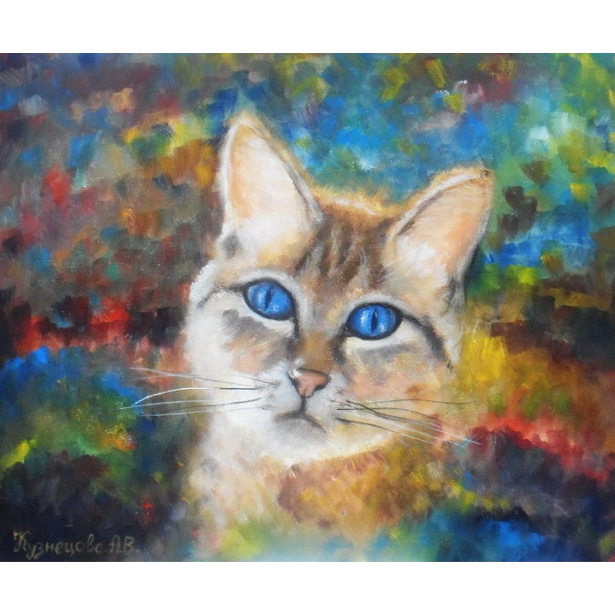 """Картина """"Кот на пестром фоне"""", холст, темпера, 25х30см"""