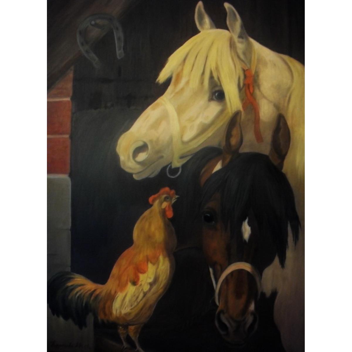 """Картина """"Лошади с петухом"""", холст, масло, 50х70см"""