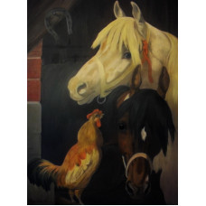 """Лошади с петухом"", холст, масло, 50х70см"