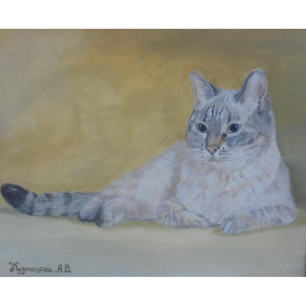 "Картина ""Тайский кот"", холст, акрил, 25х30см"