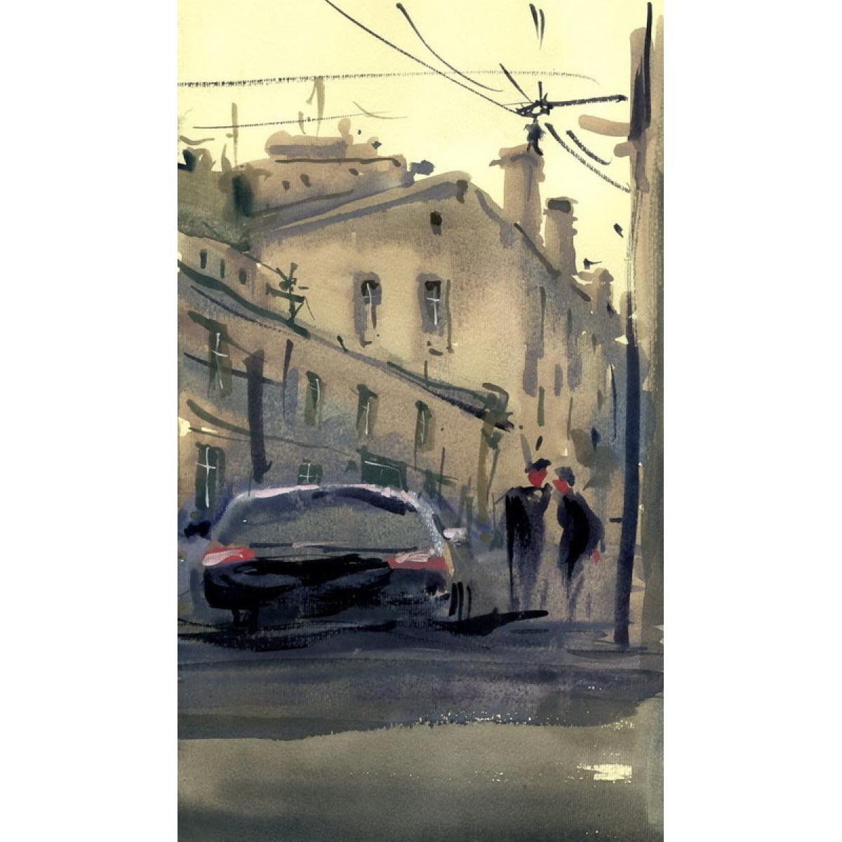 Картина Городской пейзаж, 18х25см, акварель