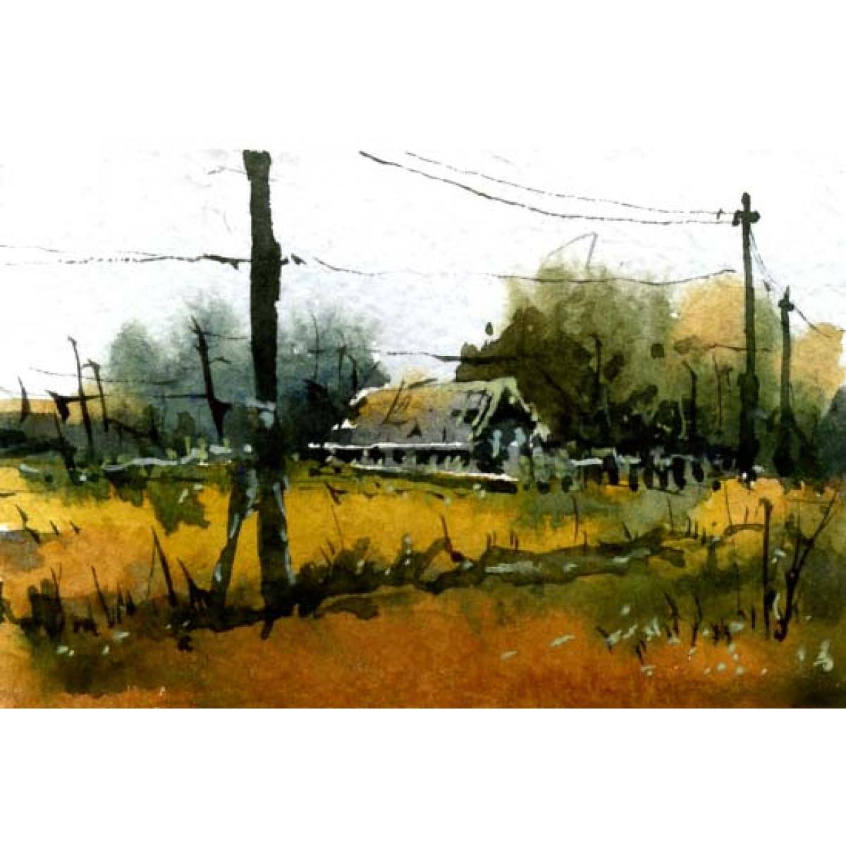 Картина Миниатюра Деревня, 9х5,5см, акварель
