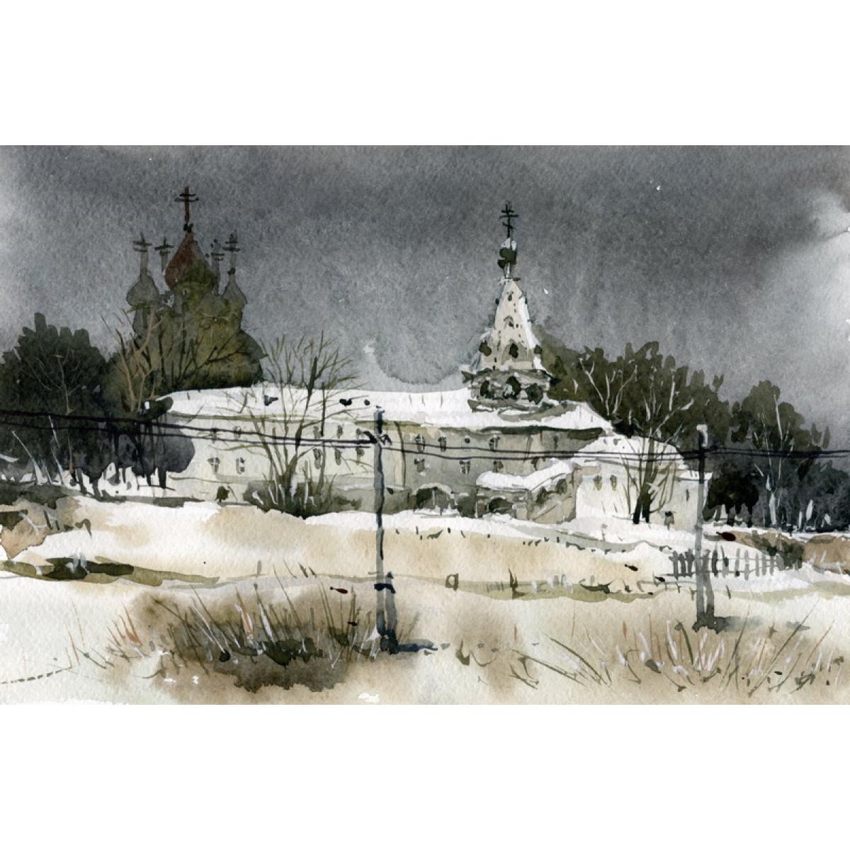 Картина Миниатюра, 9,5х5см, акварель