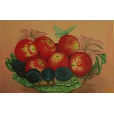 "Картина ""Яблоки"", холст, акрил, 20х30см"
