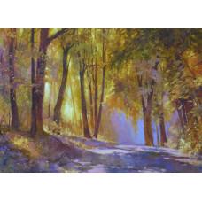 "Картина  ""Осень в Кузьминском парке"", холст, масло, 40х50см"