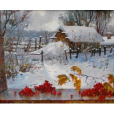 """Картина """"Зима на даче"""", холст, масло, 40х50см"""