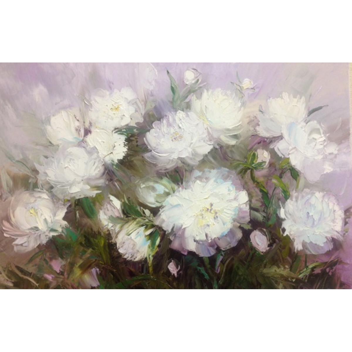 "Картина ""Пионы Белые"", холст, масло, 40х60 см."