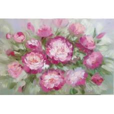 "Картина ""Пионы Розовые"", холст, масло, 40х60см."