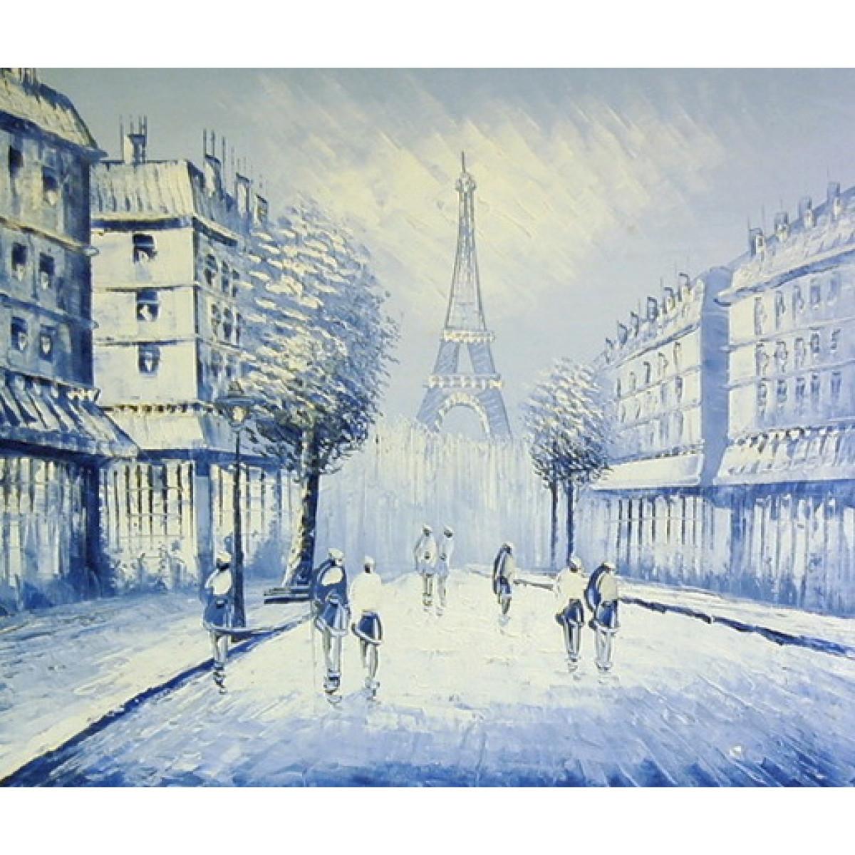 "Картина ""Голубой Париж"" холст, масло, 50х60см"