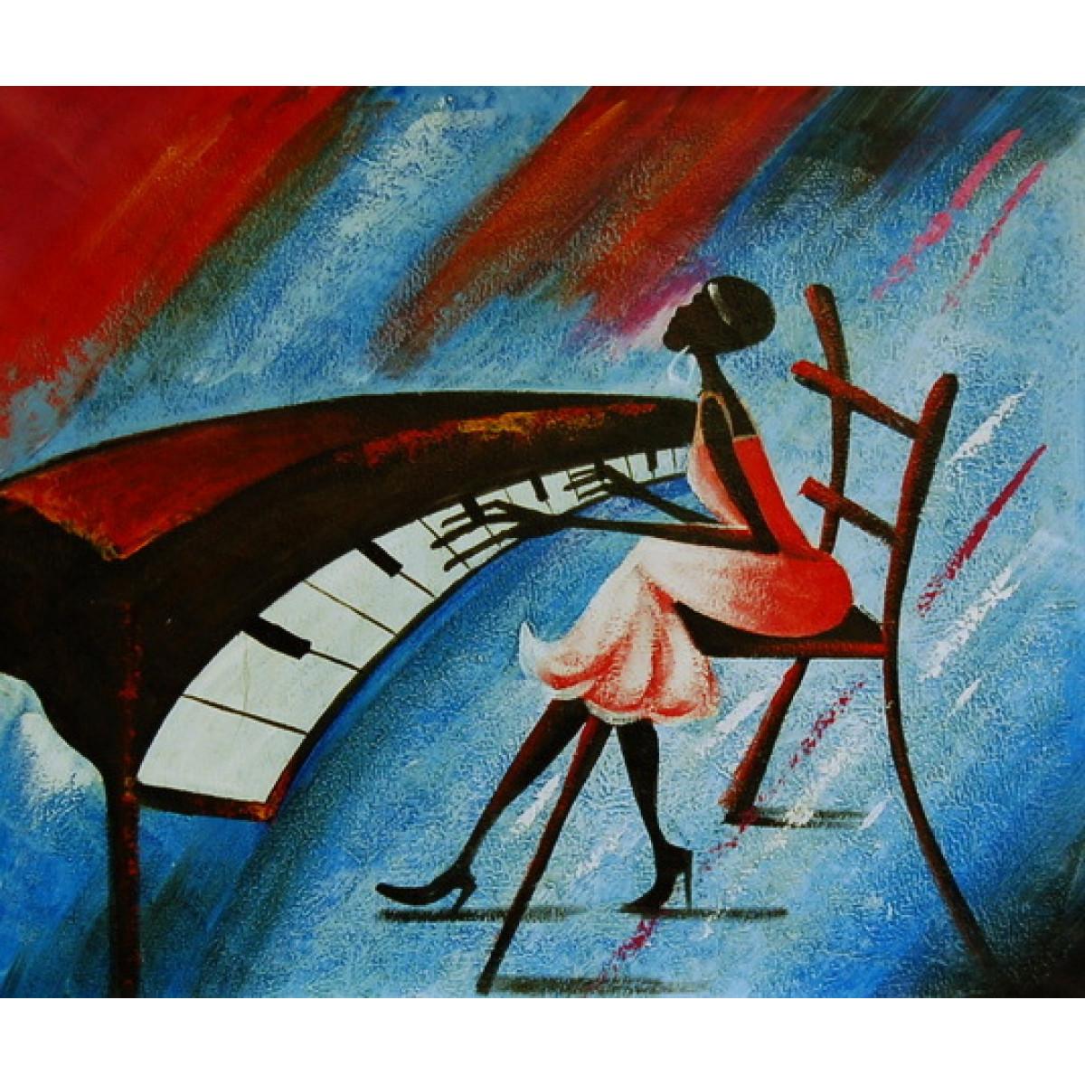 "Картина ""Пианистка"" холст, масло, 50х60см"