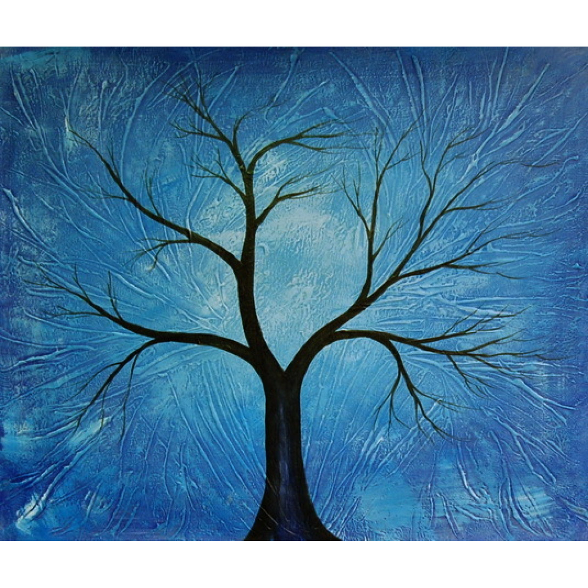 "Картина ""Синее дерево"" , холст, масло, 50х60см"