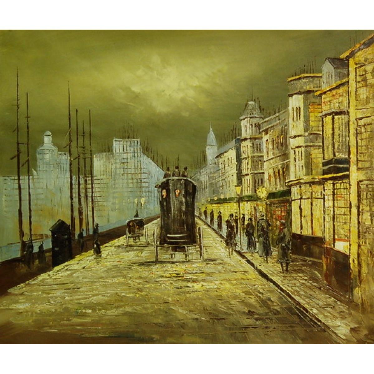 "Картина ""Туманный Лондон"", холст, масло, 50x60см"