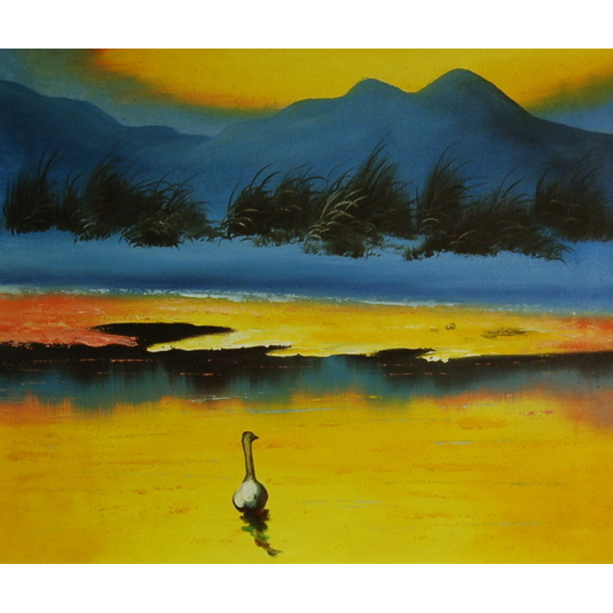 """Картина """"Вечернее озеро"""", холст, масло, 50x60см"""