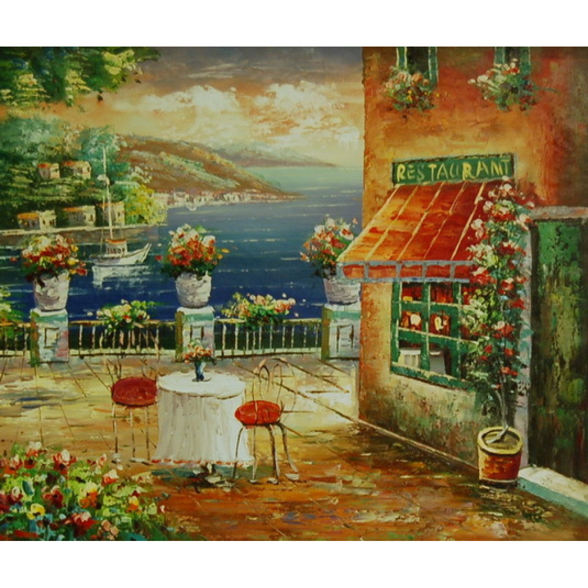 "Картина ""Южный ресторан"", холст, масло, 50x60см"
