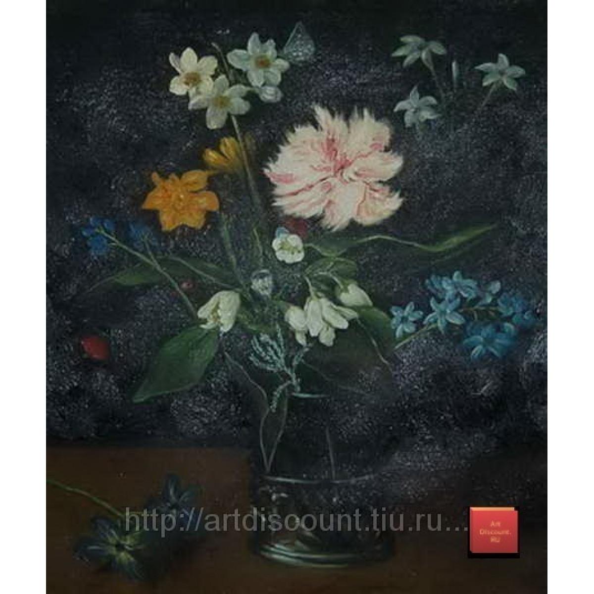 """Картина """"Букет в черной вазе"""" холст, масло, 50х60см"""