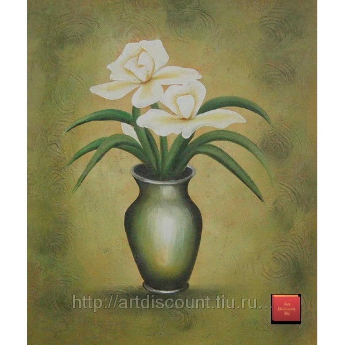 "Картина ""Букет в зелёной вазе"" холст, масло, 50х60см"