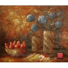 "Картина  ""Груши и цветы"" холст, масло, 50х60см"