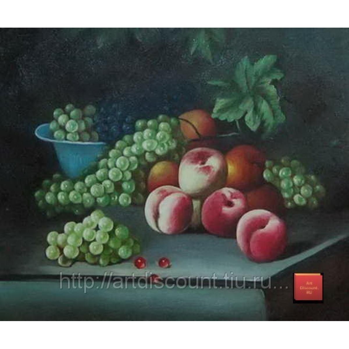 """Картина """"Персики и виноград"""", холст, масло, 50х60см"""
