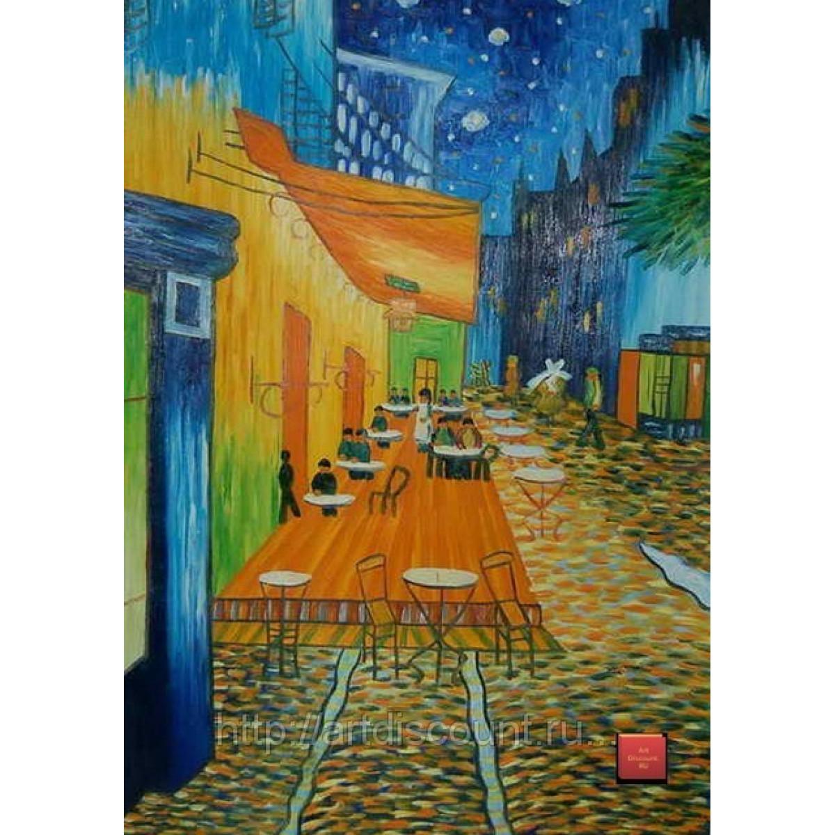 "Картина ""Терраса кафе ночью"" холст, масло, 60х90см"