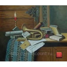 """Картина  """"Труба и книга"""" холст, масло, 50х60см"""