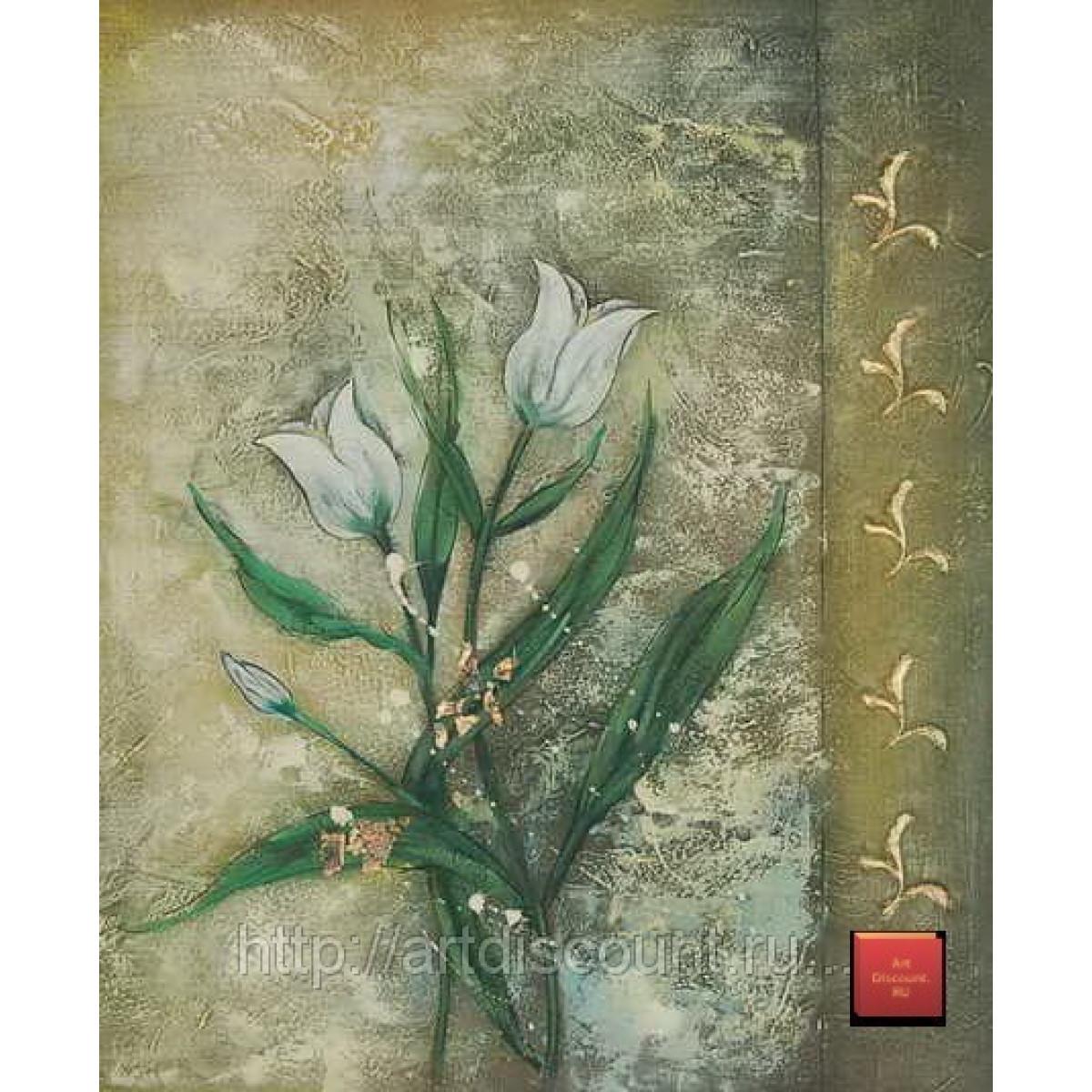 "Картина ""Цветы на золотом фоне"" холст, масло, 50х60см"