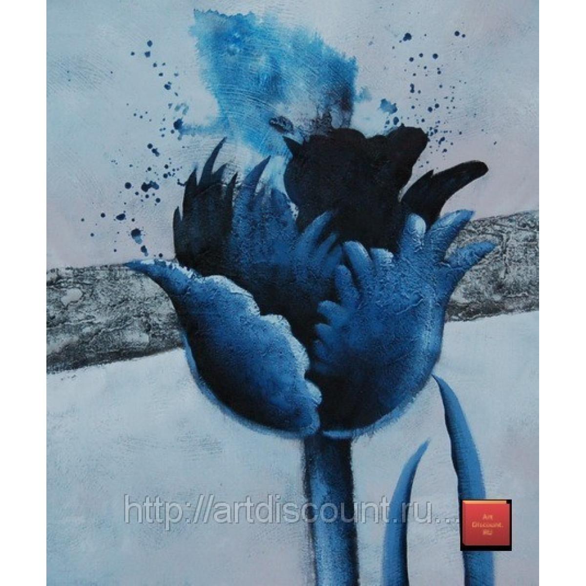 """Картина """"Взорванные цветы. Синий"""" холст, масло, 50х60см"""