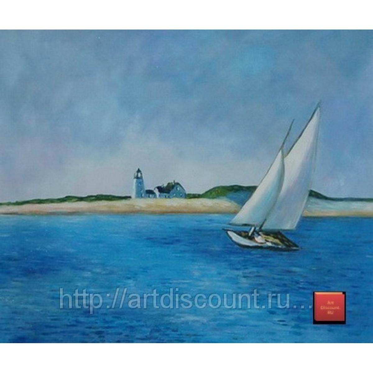 "Картина ""Яхта у берега"" холст, масло, 50х60см"
