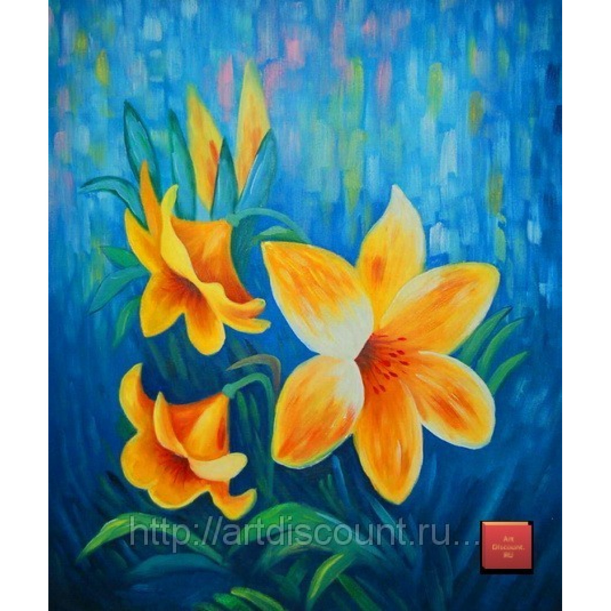 "Картина ""Желтые цветы на синем фоне"" холст, масло, 50х60см"