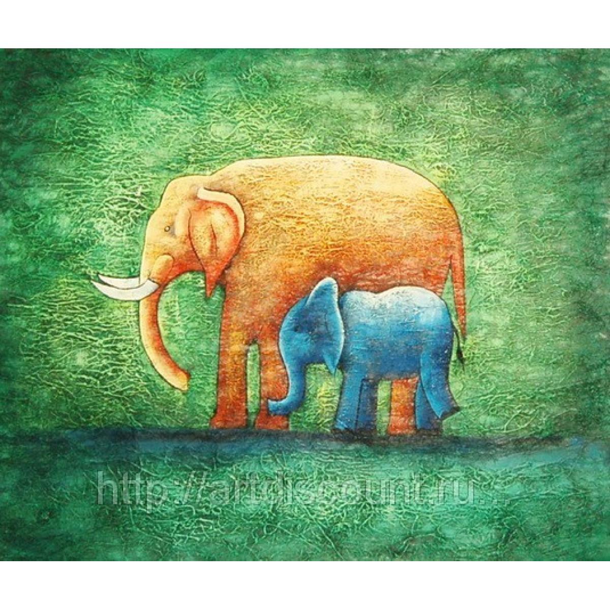 "Картина ""Слонёнок с мамой"" холст, масло, 50х60см"