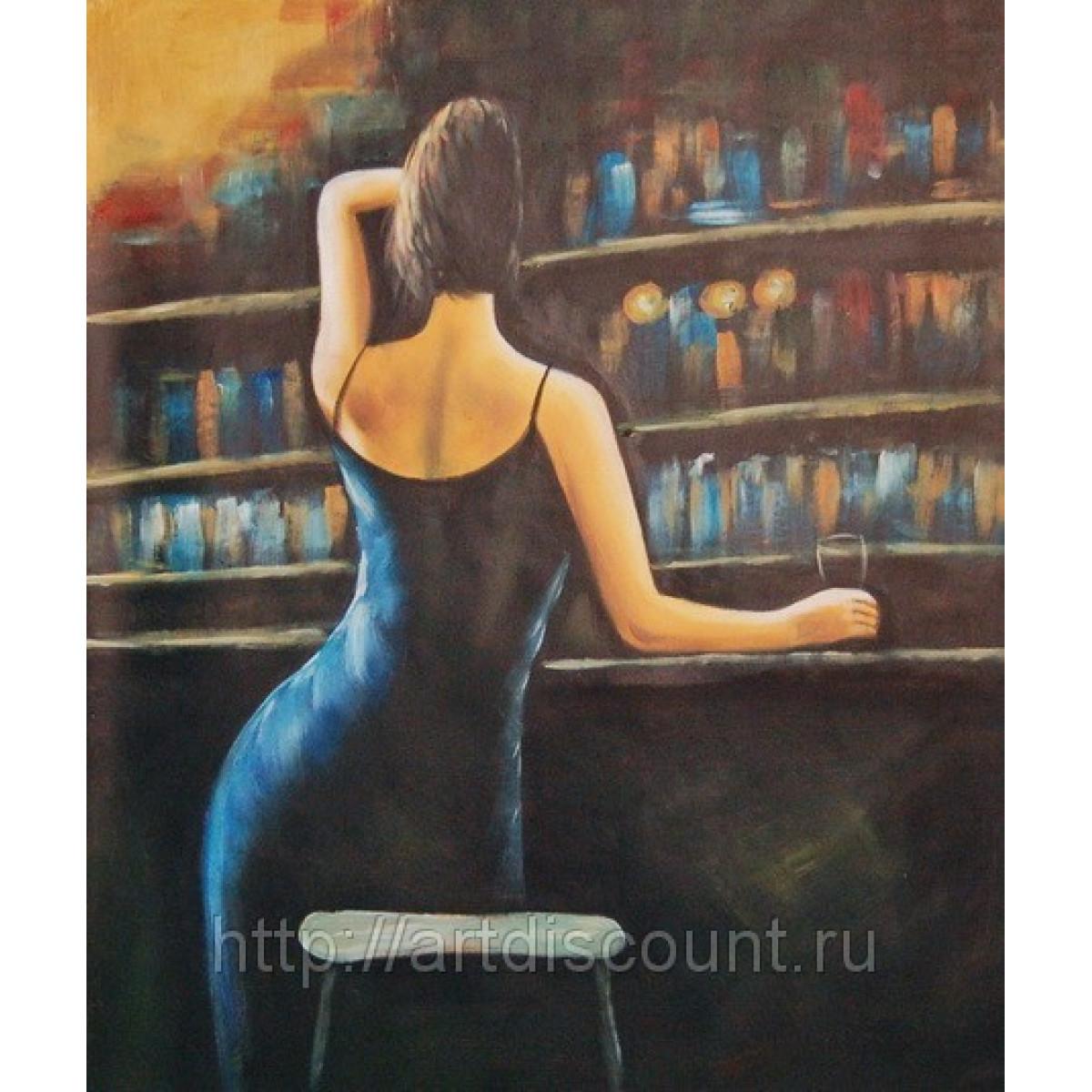 """Картина """"Девушка в баре"""" Холст, масло, 50х60см"""