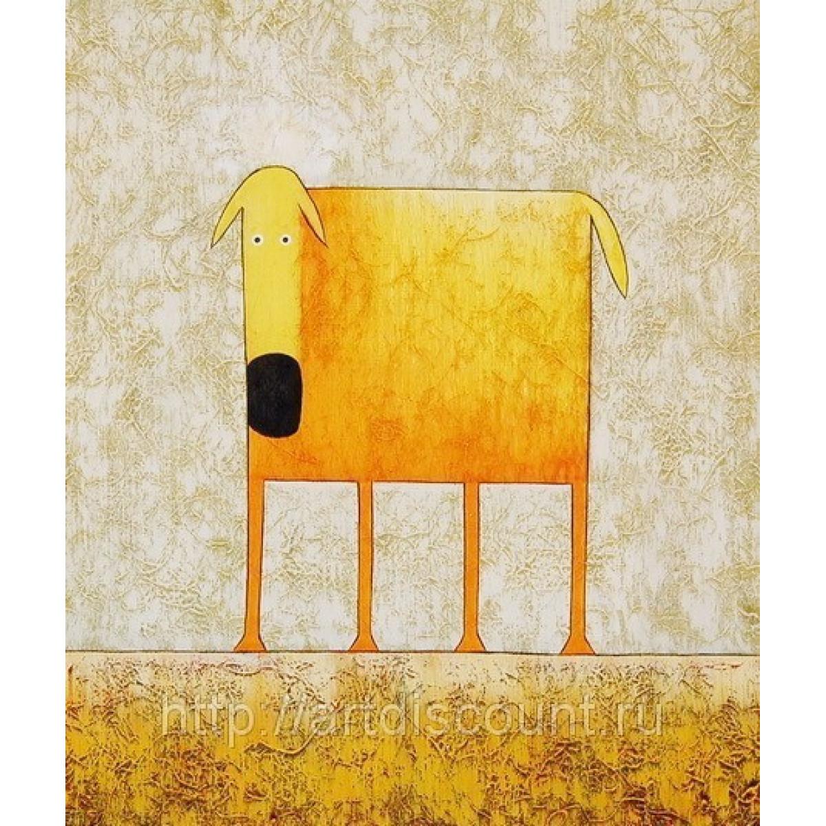 "Картина ""Желтая собака"" холст, масло, 50х60см"
