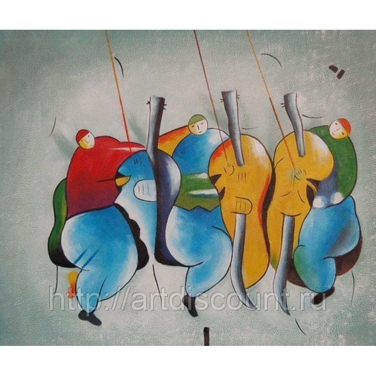 "Картина ""Трио"" холст, масло, 50х60см"