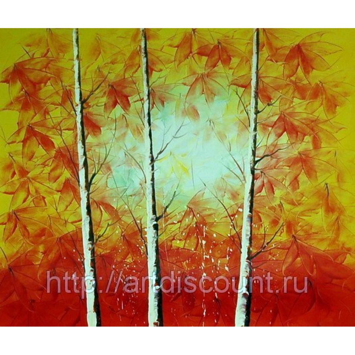 "Картина ""Красные березы"" холст, масло, 50х60см"